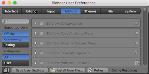 Blender save addon